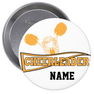 Gold Cheerleader Girl | Personalize 10 Cm Round Badge