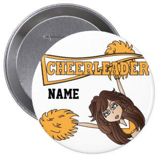 Gold Cheerleader Girl | Personalize 10 Cm Round Badge