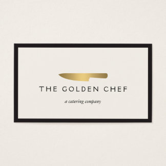 Gold Chef's Knife Logo for Catering, Restaurant II Business Card