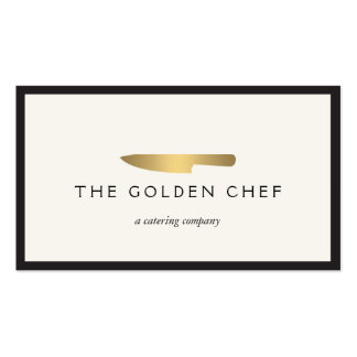 Gold Chef's Knife Logo for Catering, Restaurant II Pack Of Standard Business Cards
