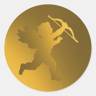 gold cherub classic round sticker