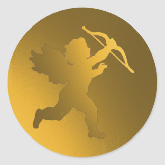 gold cherub round sticker