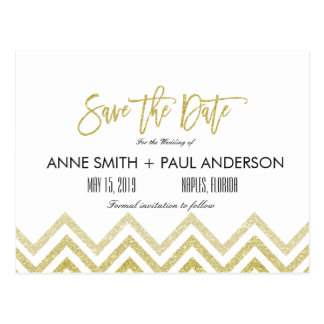 Gold chevron and white Save the Date Postcard