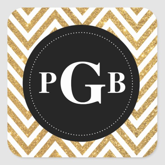 Gold Chevron Black Circle Monogram Sticker
