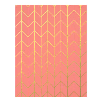 Gold Chevron Coral Pink Background Modern Chic Flyers