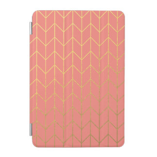 Gold Chevron Coral Pink Background Modern Chic iPad Mini Cover
