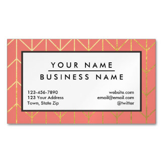 Gold Chevron Coral Pink Background Modern Chic Magnetic Business Card
