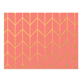 Gold Chevron Coral Pink Background Modern Chic Postcard
