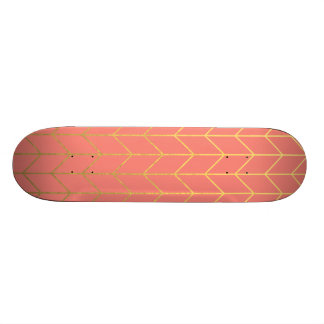 Gold Chevron Coral Pink Background Modern Chic Skateboard Decks