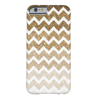 Gold Chevron Faux Glitter Ombre Barely There iPhone 6 Case