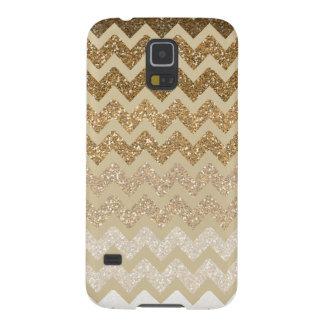 Gold Chevron Faux Glitter Ombre Cases For Galaxy S5