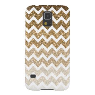 Gold Chevron Faux Glitter Ombre Galaxy S5 Covers