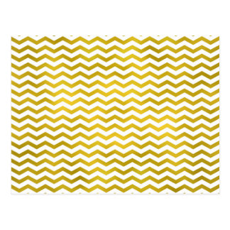 Gold Chevron Metallic Faux Foil Pattern Texture Postcard