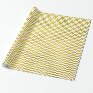 Gold Chevron Metallic Faux Foil Pattern Texture Wrapping Paper