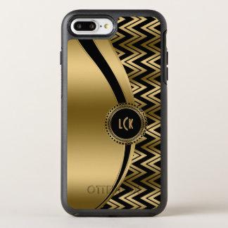 Gold Chevron & Modern Stripes & Black Background OtterBox Symmetry iPhone 7 Plus Case