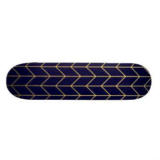 Gold Chevron Navy Blue Background Modern Chic Skateboard