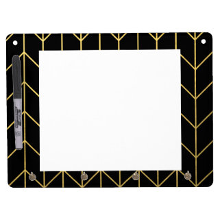 Gold Chevron on Black Background Modern Chic Dry Erase Board With Key Ring Holder