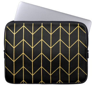 Gold Chevron on Black Background Modern Chic Laptop Sleeve