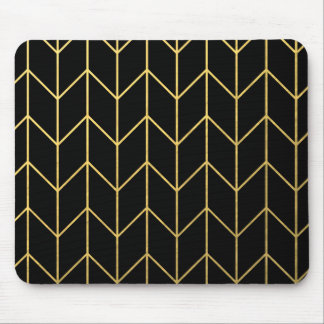 Gold Chevron on Black Background Modern Chic Mouse Mat