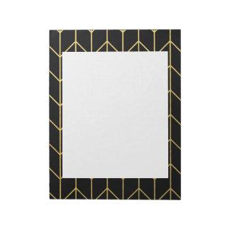 Gold Chevron on Black Background Modern Chic Notepad