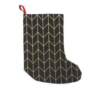 Gold Chevron on Black Background Modern Chic Small Christmas Stocking
