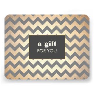 Gold Chevron Pattern Salon Spa Gift Certificate Personalized Invite