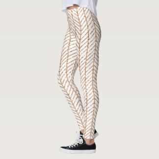 Gold Chevron Stripe Leggings