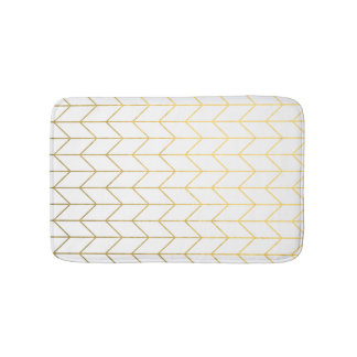 Gold Chevron White Background Modern Chic Bath Mat