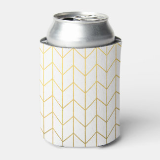 Gold Chevron White Background Modern Chic Can Cooler