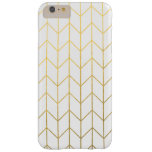 Gold Chevron White Background Modern Chic Barely There iPhone 6 Plus Case