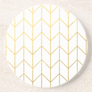 Gold Chevron White Background Modern Chic Coaster