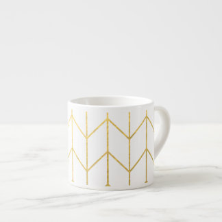 Gold Chevron White Background Modern Chic Espresso Cup