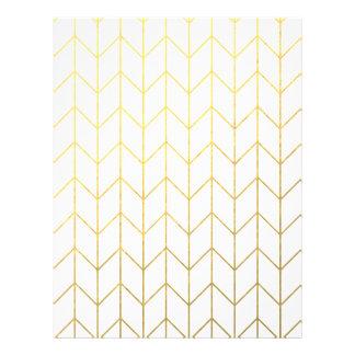 Gold Chevron White Background Modern Chic 21.5 Cm X 28 Cm Flyer