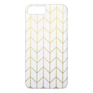 Gold Chevron White Background Modern Chic iPhone 8 Plus/7 Plus Case