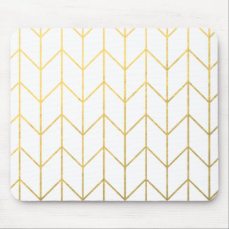 Gold Chevron White Background Modern Chic Mouse Mat