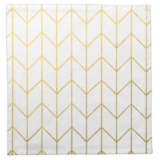 Gold Chevron White Background Modern Chic Napkin