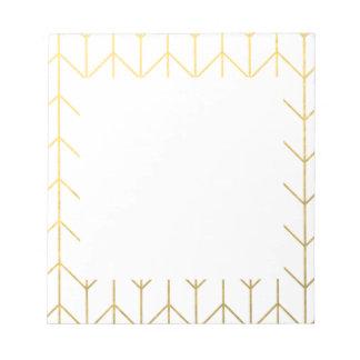 Gold Chevron White Background Modern Chic Notepad