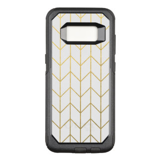 Gold Chevron White Background Modern Chic OtterBox Commuter Samsung Galaxy S8 Case