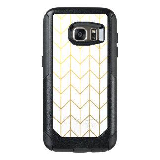 Gold Chevron White Background Modern Chic OtterBox Samsung Galaxy S7 Case