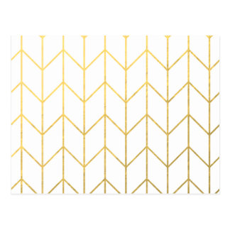 Gold Chevron White Background Modern Chic Postcard
