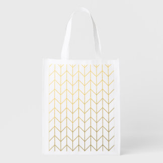 Gold Chevron White Background Modern Chic Reusable Grocery Bag