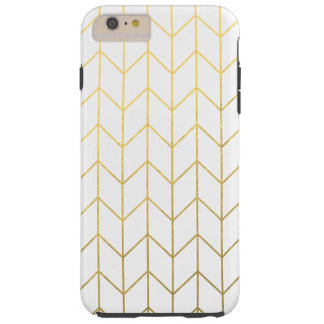Gold Chevron White Background Modern Chic Tough iPhone 6 Plus Case