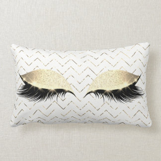 Gold Chevron White Foxier Eye Black Glitter Makeup Lumbar Pillow