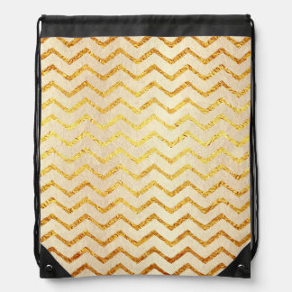 Gold Chevrons Faux Foil Glitter Background Chevron Drawstring Bag