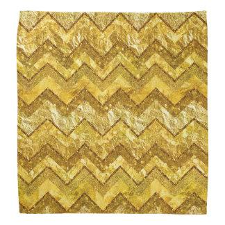 Gold Chevrons Zig Zag Golds Metal Glitter Stripes Bandana