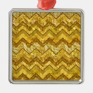 Gold Chevrons Zig Zag Golds Metal Glitter Stripes Christmas Ornament