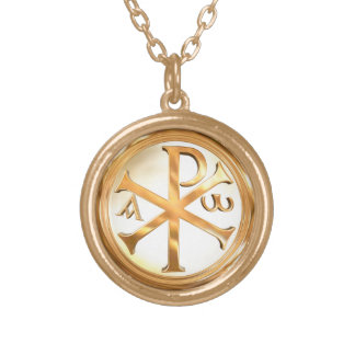 Gold Chi-Rho Gold Plated Necklace