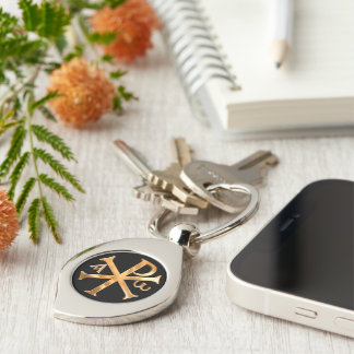 Gold Chi-Rho Silver-Colored Swirl Key Ring