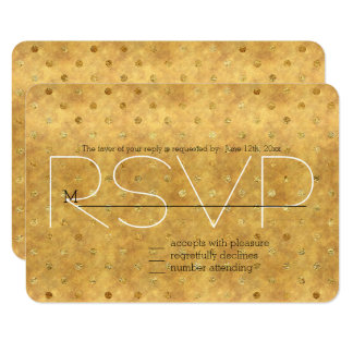 Gold Chic Dots RSVP Card