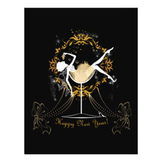 Gold chic elegant black glitter new year party 21.5 cm x 28 cm flyer